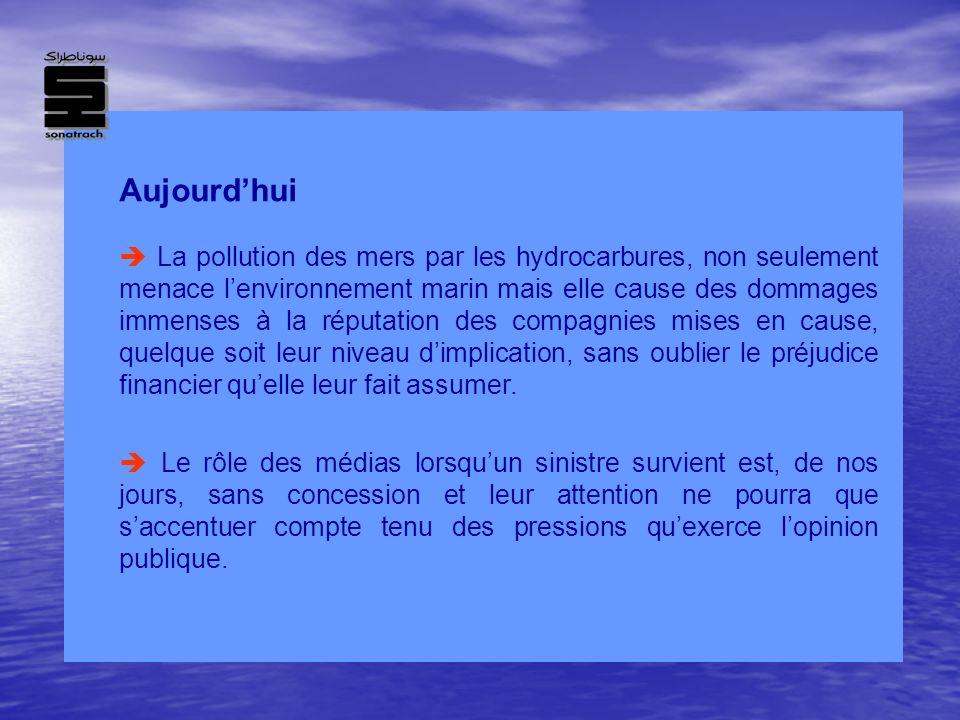 Aujourdhui La pollution des mers par les hydrocarbures, non seulement menace lenvironnement marin mais elle cause des dommages immenses à la réputatio