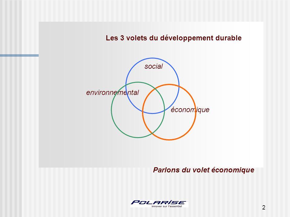 2 Les 3 volets du développement durable social environnemental économique Parlons du volet économique