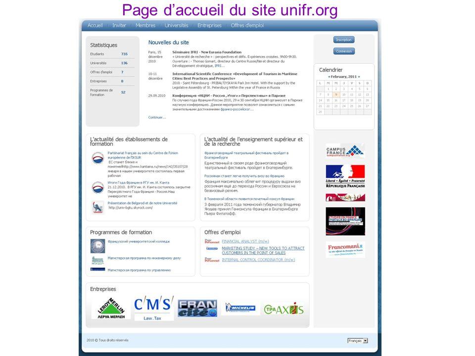 Page daccueil du site unifr.org