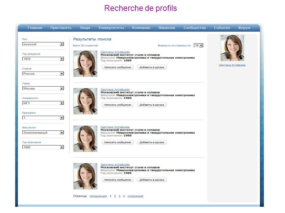 Recherche de profils