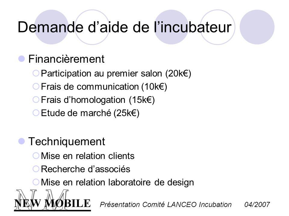 Présentation Comité LANCEO Incubation 04/2007 Demande daide de lincubateur Financièrement Participation au premier salon (20k) Frais de communication