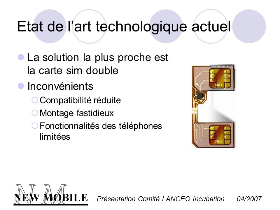 Présentation Comité LANCEO Incubation 04/2007 Etat de lart technologique actuel La solution la plus proche est la carte sim double Inconvénients Compa