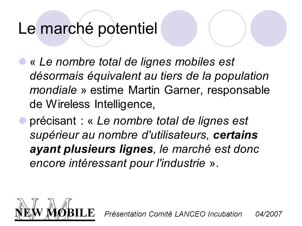 Présentation Comité LANCEO Incubation 04/2007 Le marché potentiel « Le nombre total de lignes mobiles est désormais équivalent au tiers de la populati