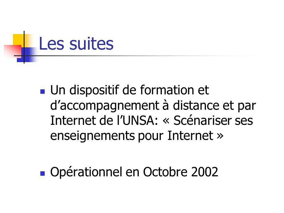 Les suites Un dispositif de formation et daccompagnement à distance et par Internet de lUNSA: « Scénariser ses enseignements pour Internet » Opérationnel en Octobre 2002
