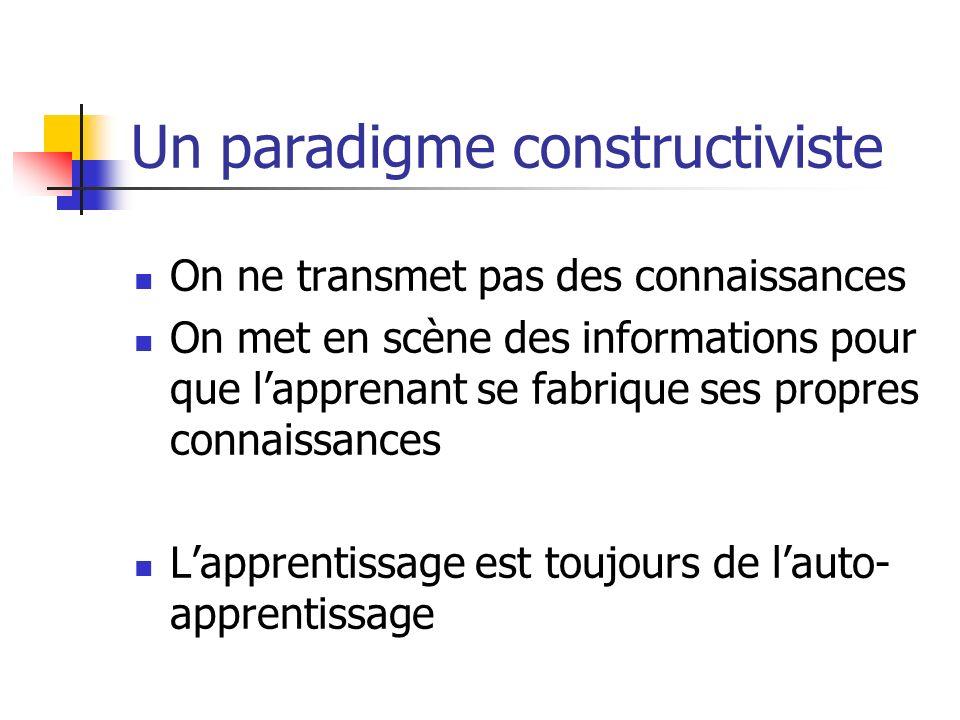 Un paradigme constructiviste On ne transmet pas des connaissances On met en scène des informations pour que lapprenant se fabrique ses propres connaissances Lapprentissage est toujours de lauto- apprentissage