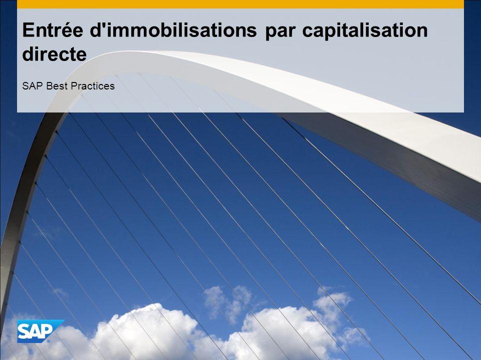 Entrée d'immobilisations par capitalisation directe SAP Best Practices