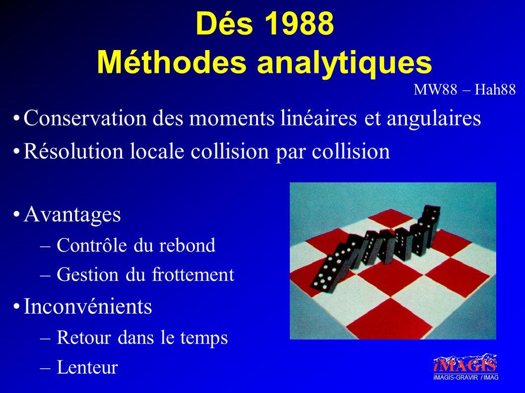 iMAGIS-GRAVIR / IMAG Dés 1988 Méthodes analytiques Conservation des moments linéaires et angulaires Résolution locale collision par collision Avantage