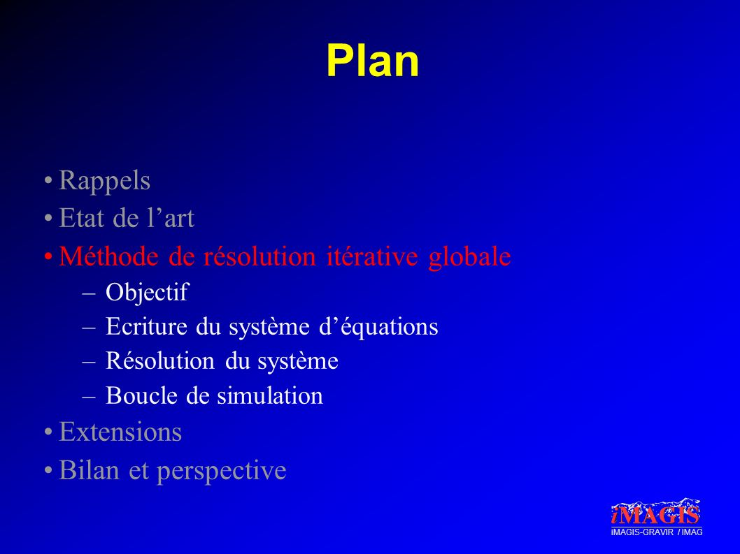 iMAGIS-GRAVIR / IMAG Plan Rappels Etat de lart Méthode de résolution itérative globale –Objectif –Ecriture du système déquations –Résolution du systèm