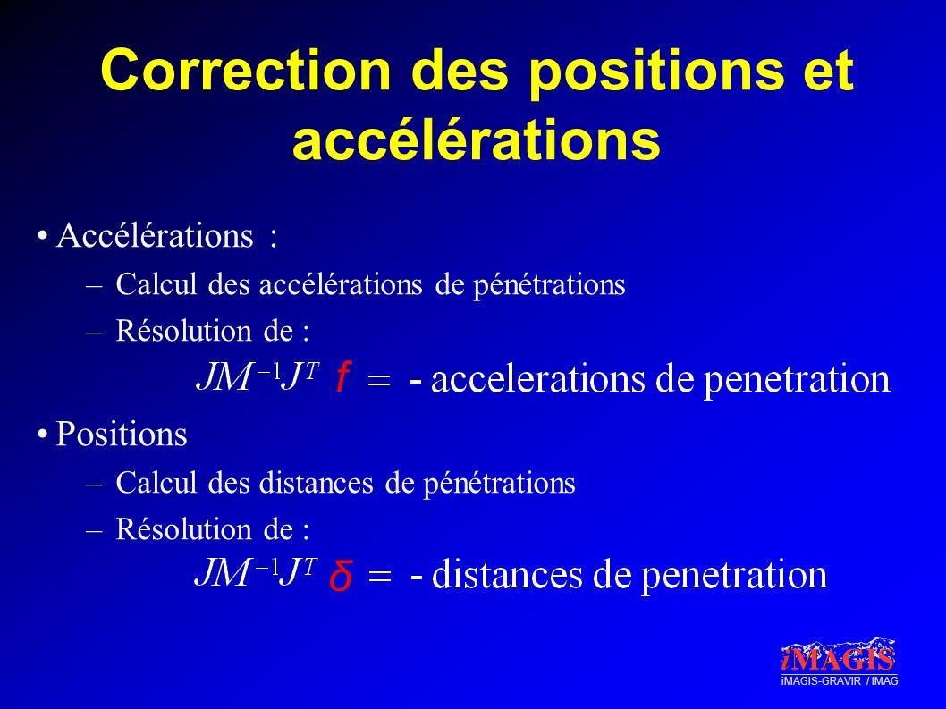 iMAGIS-GRAVIR / IMAG Correction des positions et accélérations Accélérations : –Calcul des accélérations de pénétrations –Résolution de : Positions –C