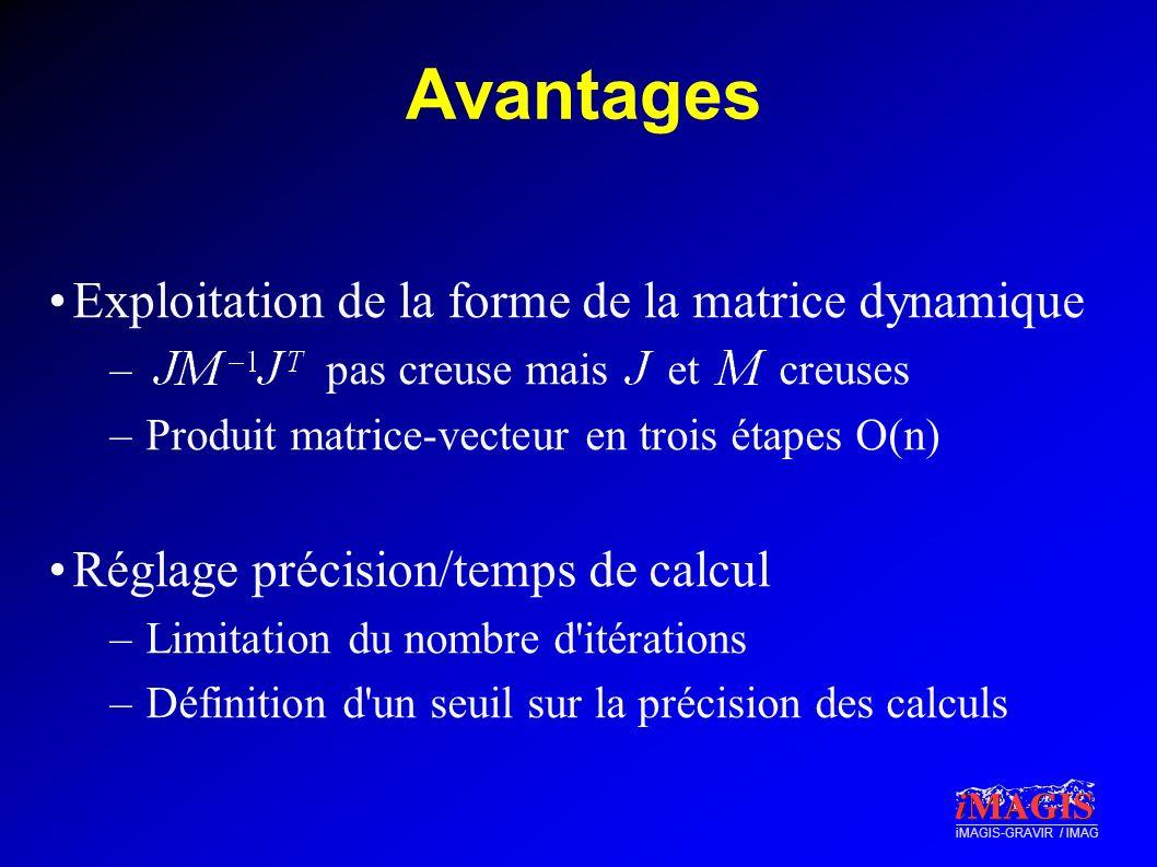 iMAGIS-GRAVIR / IMAG Avantages Exploitation de la forme de la matrice dynamique – pas creuse mais et creuses –Produit matrice-vecteur en trois étapes