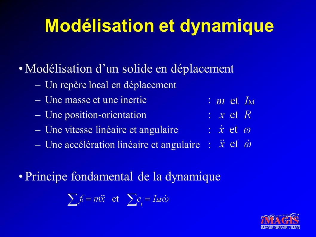 iMAGIS-GRAVIR / IMAG Modélisation et dynamique Modélisation dun solide en déplacement –Un repère local en déplacement –Une masse et une inertie: –Une