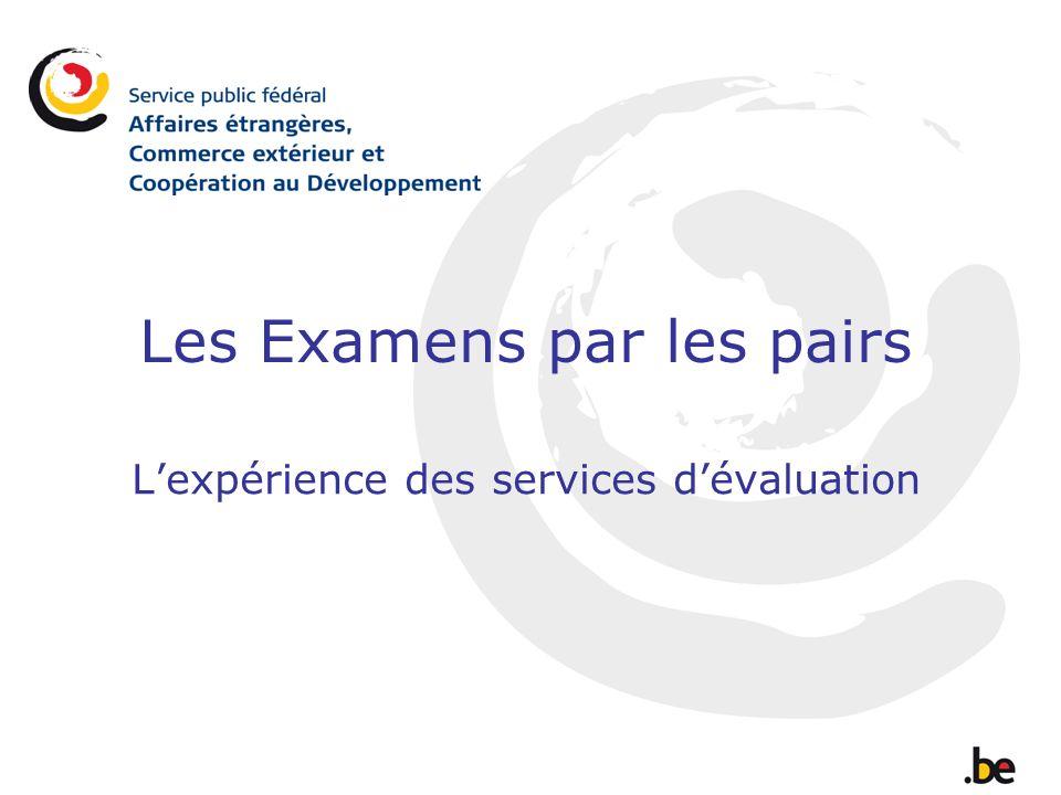 Les Examens par les pairs Lexpérience des services dévaluation