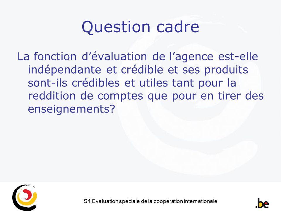 S4 Evaluation spéciale de la coopération internationale Question cadre La fonction dévaluation de lagence est-elle indépendante et crédible et ses produits sont-ils crédibles et utiles tant pour la reddition de comptes que pour en tirer des enseignements?
