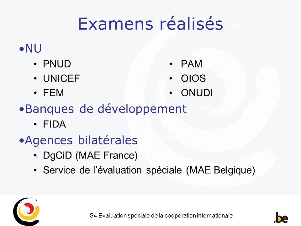 S4 Evaluation spéciale de la coopération internationale Examens réalisés NU PNUD PAM UNICEF OIOS FEM ONUDI Banques de développement FIDA Agences bilatérales DgCiD (MAE France) Service de lévaluation spéciale (MAE Belgique)
