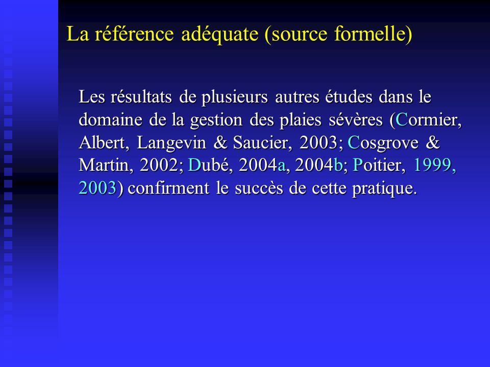 Les résultats de plusieurs autres études dans le domaine de la gestion des plaies sévères (Cormier, Albert, Langevin & Saucier, 2003; Cosgrove & Marti