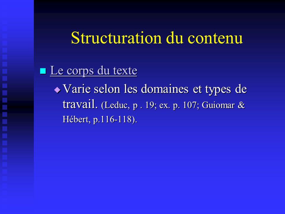 Structuration du contenu Le corps du texte Le corps du texte Le corps du texte Le corps du texte Varie selon les domaines et types de travail. (Leduc,