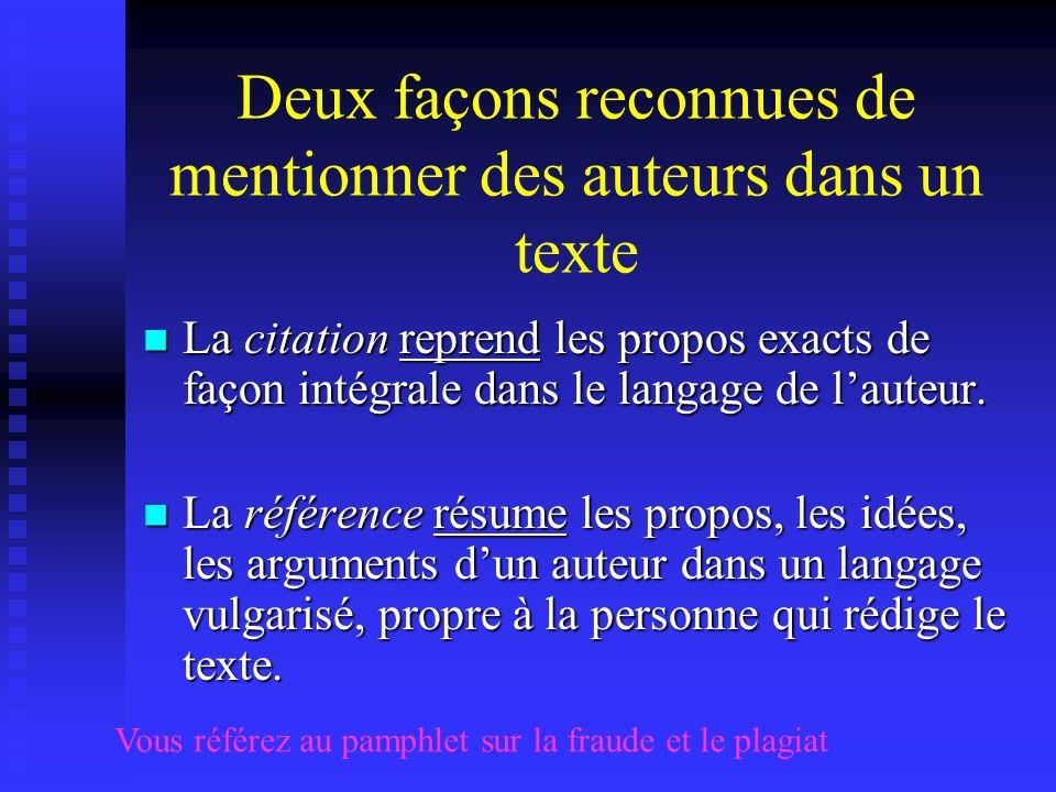 Deux façons reconnues de mentionner des auteurs dans un texte La citation reprend les propos exacts de façon intégrale dans le langage de lauteur. La