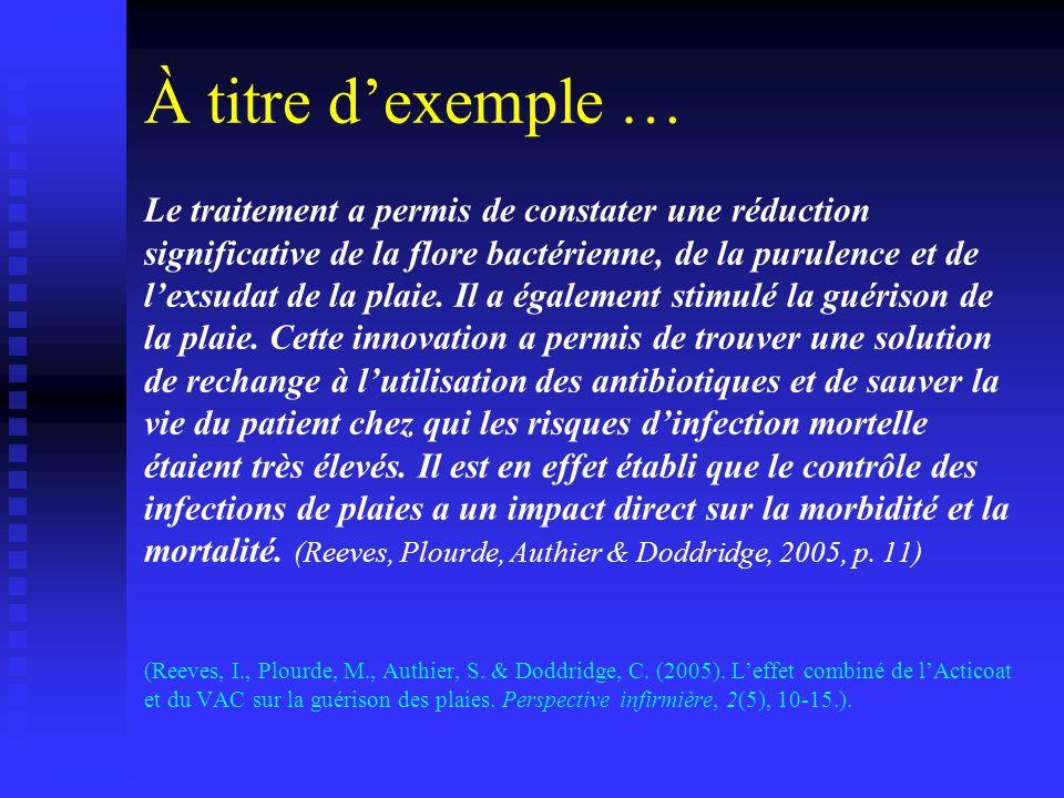 Citation adéquate (Leduc, p.41) Aujourdhui, la combinaison simultanée dun traitement bactéricide et dun dispositif de stimulation du processus de cicatrisation a largement contribué à réduire le temps de guérison des plaies sévères.
