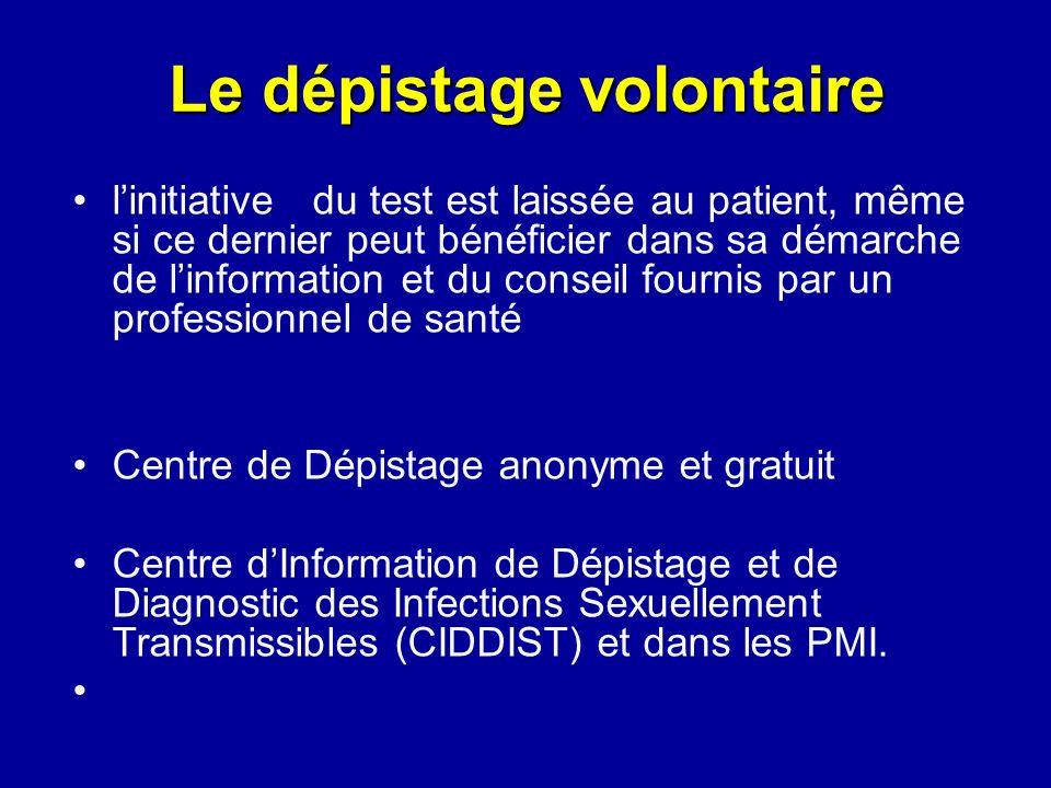 Le dépistage volontaire linitiative du test est laissée au patient, même si ce dernier peut bénéficier dans sa démarche de linformation et du conseil
