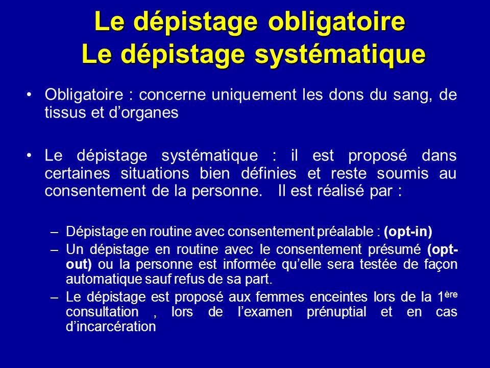 Le dépistage obligatoire Le dépistage systématique Obligatoire : concerne uniquement les dons du sang, de tissus et dorganes Le dépistage systématique