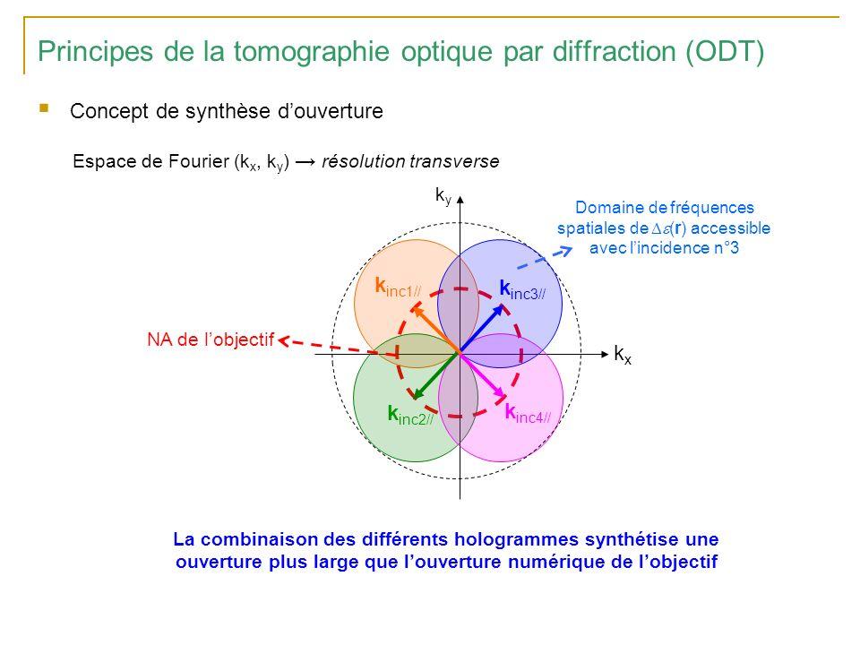Comparaison des résolutions de lODT et de la microscopie classique Sensibilité accrue de lODT aux hautes fréquences spatiales Résolution au delà du critère de Rayleigh : ici 0.3 /NA with Estimation de la carte de permittivité Fonction de Transfert Optique du dispositif vecteur des fréquences spatiales 1 x OTF NA/ 2NA/ ODT Holographie numérique Microscopie classique Principes de la tomographie optique par diffraction (ODT)