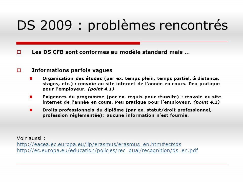 DS 2009 : problèmes rencontrés Les DS CFB sont conformes au modèle standard mais … Informations parfois vagues Organisation des études (par ex.