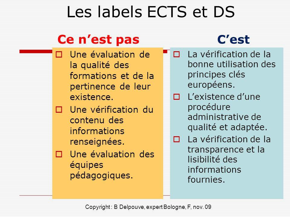 Les labels ECTS et DS Ce nest pas Une évaluation de la qualité des formations et de la pertinence de leur existence. Une vérification du contenu des i