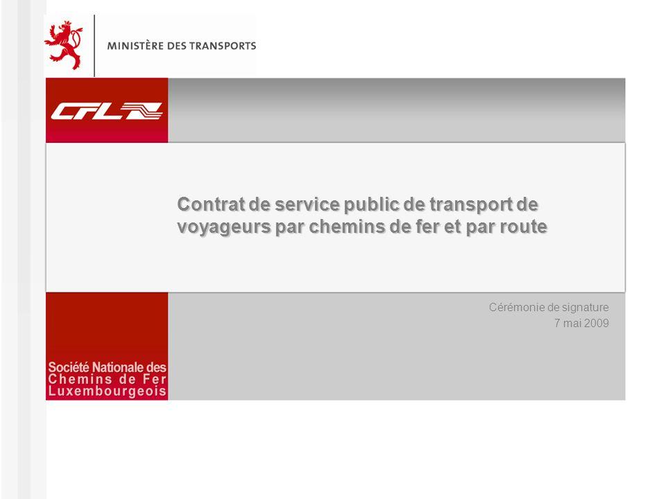 Contrat de Service Public – Cérémonie de signature 07/05/2009 http://www.cfl.lu2 Contexte Stratégie mobil 2020, avec pour objectif que, à lhorizon 2020, un quart des déplacements se réalise en transports en commun, nécessitant un développement considérable du transport public par chemins de fer et par route Conclusions de la tripartite ferroviaire de 2005: –Objectif des CFL de constituer lépine dorsale des transports publics au Luxembourg par laccomplissement de missions de service public –Inclusion dans le nouveau contrat de service public des impératifs de sécurité, de sûreté, defficacité et de qualité Evolution du cadre législatif et réglementaire: –La loi modifiée du 19 juin 2004, ayant comme objectif la mise en place, la gestion et le développement des transports publics –Les règlements européens 1370/2007 relatif au service public de transport de voyageurs par chemin de fer et par route et 1371/2007 sur les droits et obligations des voyageurs ferroviaires