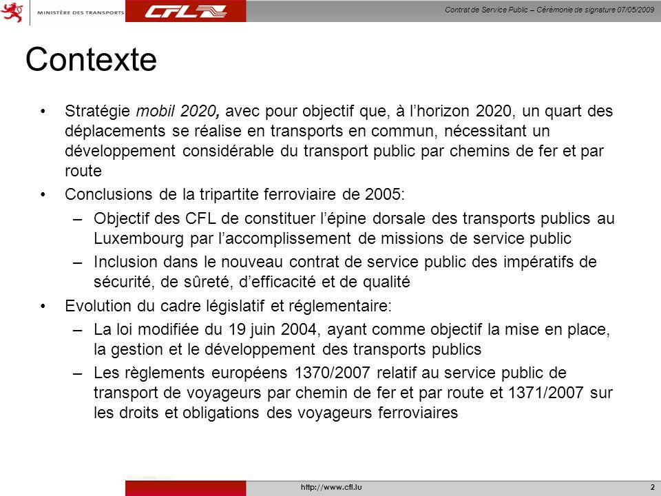 Contrat de Service Public – Cérémonie de signature 07/05/2009 http://www.cfl.lu2 Contexte Stratégie mobil 2020, avec pour objectif que, à lhorizon 202