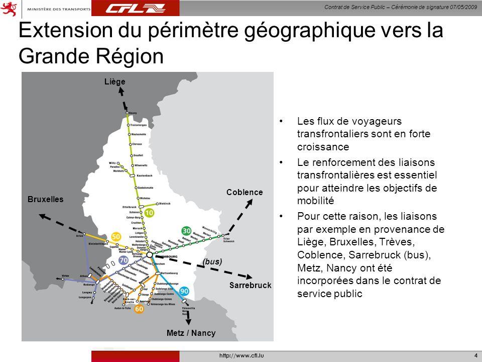 Contrat de Service Public – Cérémonie de signature 07/05/2009 http://www.cfl.lu4 Extension du périmètre géographique vers la Grande Région Les flux de