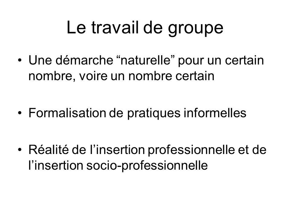 Le travail de groupe Une démarche naturelle pour un certain nombre, voire un nombre certain Formalisation de pratiques informelles Réalité de linsertion professionnelle et de linsertion socio-professionnelle