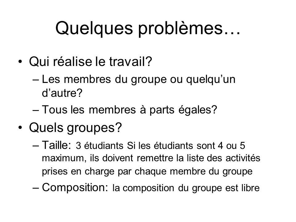 Quelques problèmes… Qui réalise le travail.–Les membres du groupe ou quelquun dautre.