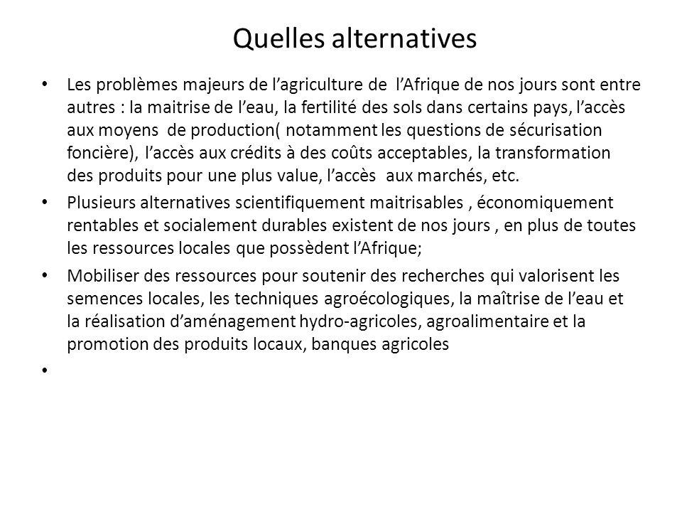Quelles alternatives Les problèmes majeurs de lagriculture de lAfrique de nos jours sont entre autres : la maitrise de leau, la fertilité des sols dan