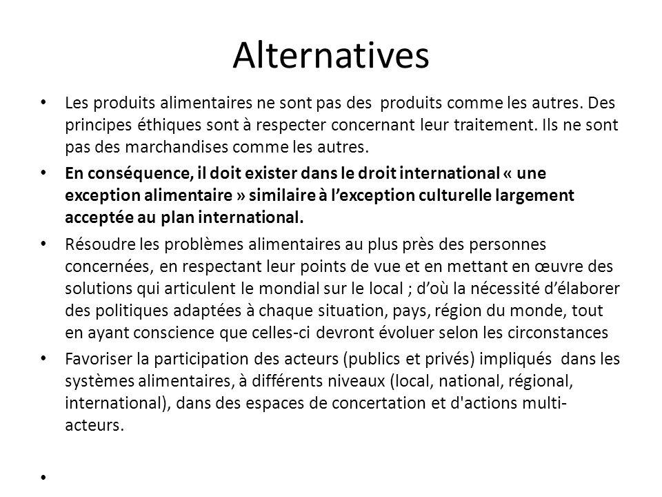 Alternatives Les produits alimentaires ne sont pas des produits comme les autres. Des principes éthiques sont à respecter concernant leur traitement.