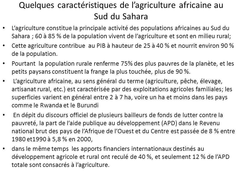 Quelques caractéristiques de lagriculture africaine au Sud du Sahara Lagriculture constitue la principale activité des populations africaines au Sud du Sahara ; 60 à 85 % de la population vivent de lagriculture et sont en milieu rural; Cette agriculture contribue au PIB à hauteur de 25 à 40 % et nourrit environ 90 % de la population.