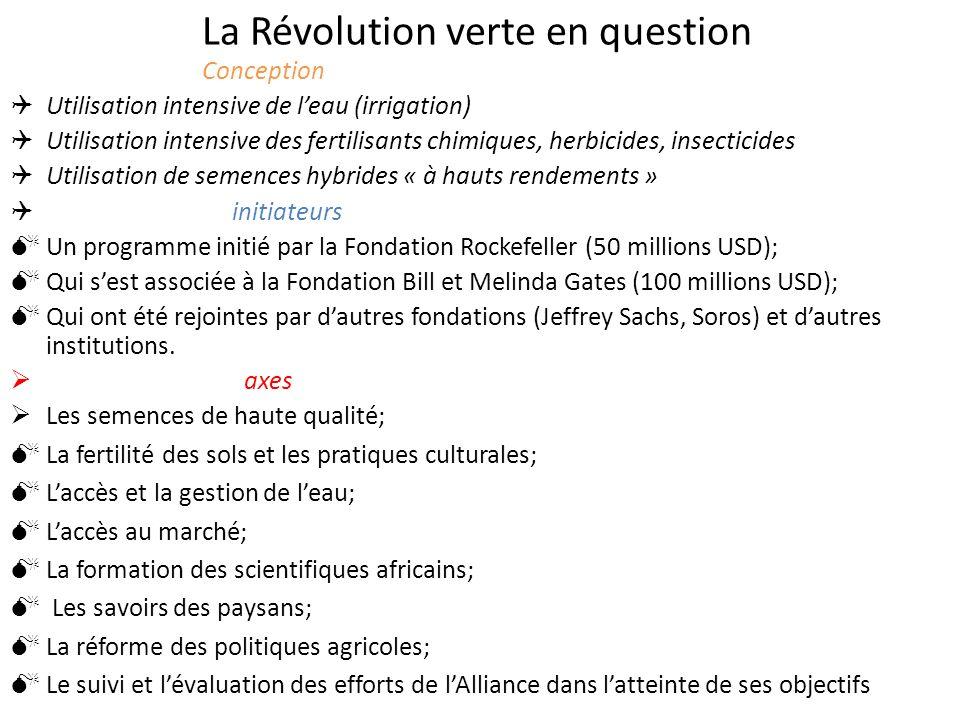 La Révolution verte en question Conception Utilisation intensive de leau (irrigation) Utilisation intensive des fertilisants chimiques, herbicides, in