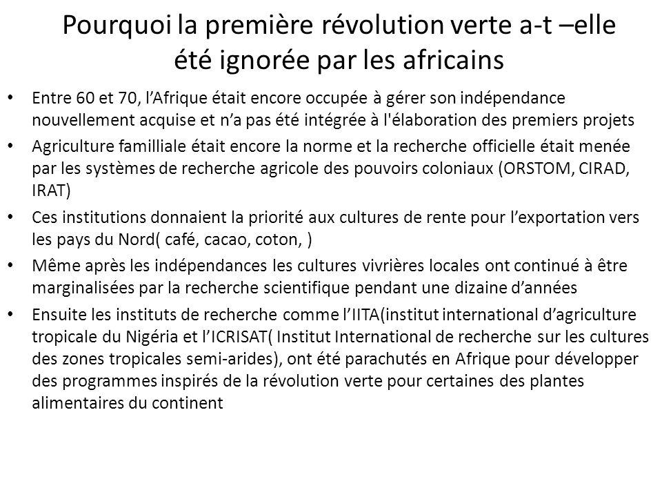 Pourquoi la première révolution verte a-t –elle été ignorée par les africains Entre 60 et 70, lAfrique était encore occupée à gérer son indépendance n
