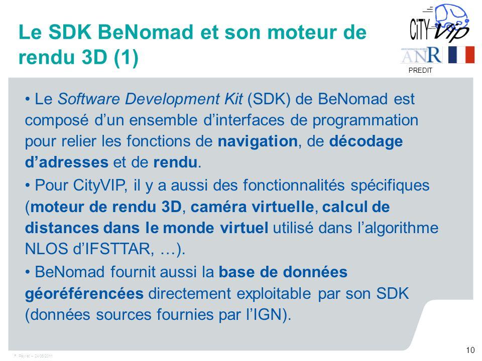 F. Peyret – 24/06/2011 10 PREDIT Le Software Development Kit (SDK) de BeNomad est composé dun ensemble dinterfaces de programmation pour relier les fo