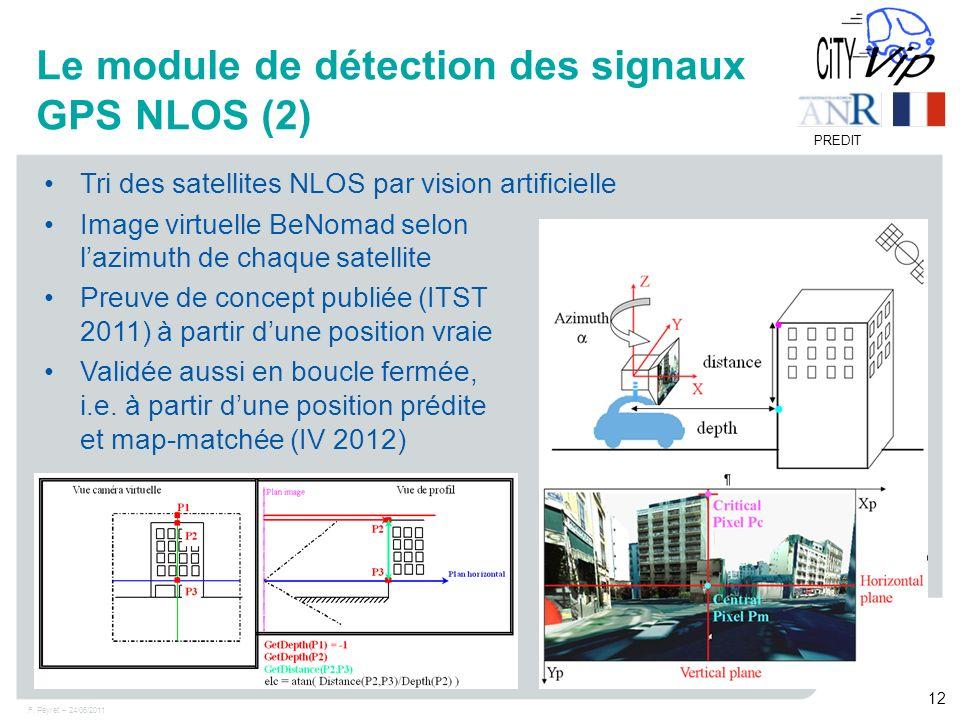 F. Peyret – 24/06/2011 12 PREDIT Le module de détection des signaux GPS NLOS (2) Tri des satellites NLOS par vision artificielle Image virtuelle BeNom