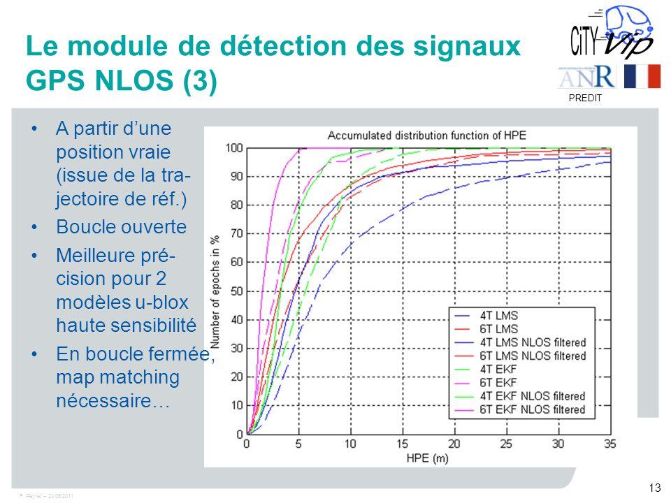 F. Peyret – 24/06/2011 13 PREDIT Le module de détection des signaux GPS NLOS (3) A partir dune position vraie (issue de la tra- jectoire de réf.) Bouc