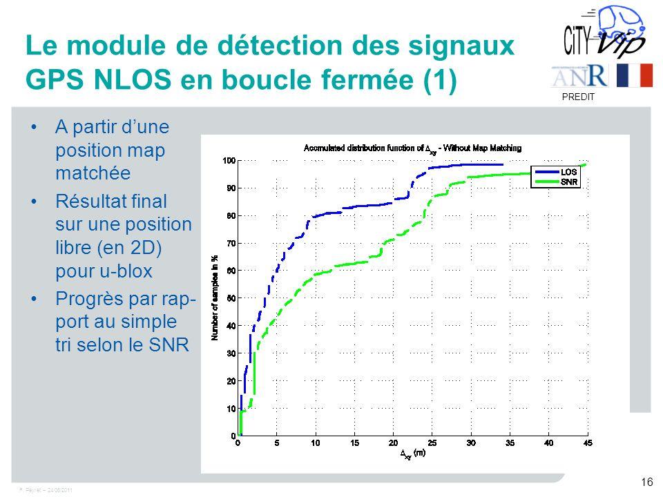 F. Peyret – 24/06/2011 16 PREDIT Le module de détection des signaux GPS NLOS en boucle fermée (1) A partir dune position map matchée Résultat final su