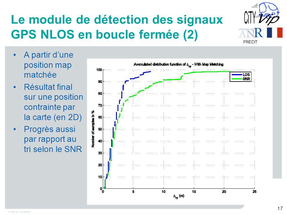 F. Peyret – 24/06/2011 17 PREDIT Le module de détection des signaux GPS NLOS en boucle fermée (2) A partir dune position map matchée Résultat final su