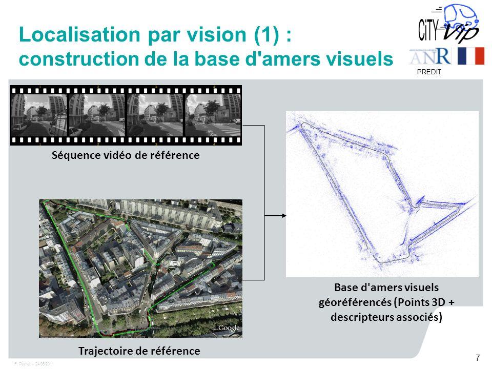 F. Peyret – 24/06/2011 7 PREDIT Localisation par vision (1) : construction de la base d'amers visuels Séquence vidéo de référence Base d'amers visuels