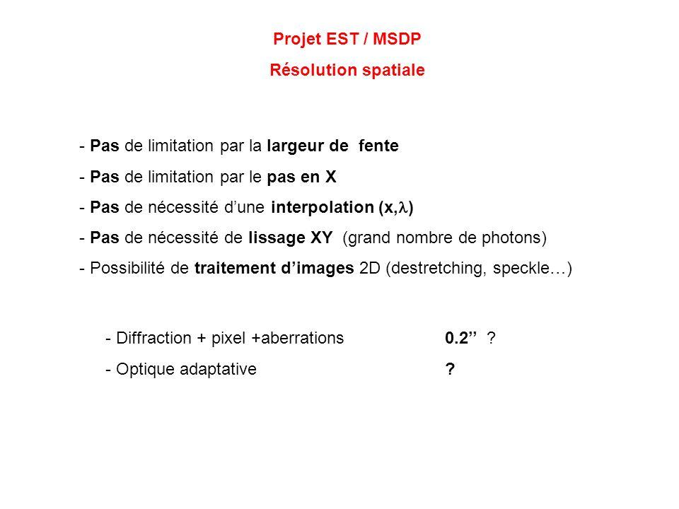 Projet EST / MSDP Résolution spatiale - Pas de limitation par la largeur de fente - Pas de limitation par le pas en X - Pas de nécessité dune interpol