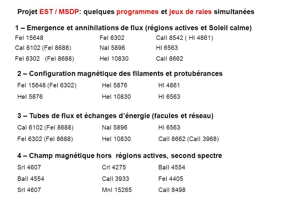 Projet EST / MSDP: quelques programmes et jeux de raies simultanées 1 – Emergence et annihilations de flux (régions actives et Soleil calme) FeI 15648