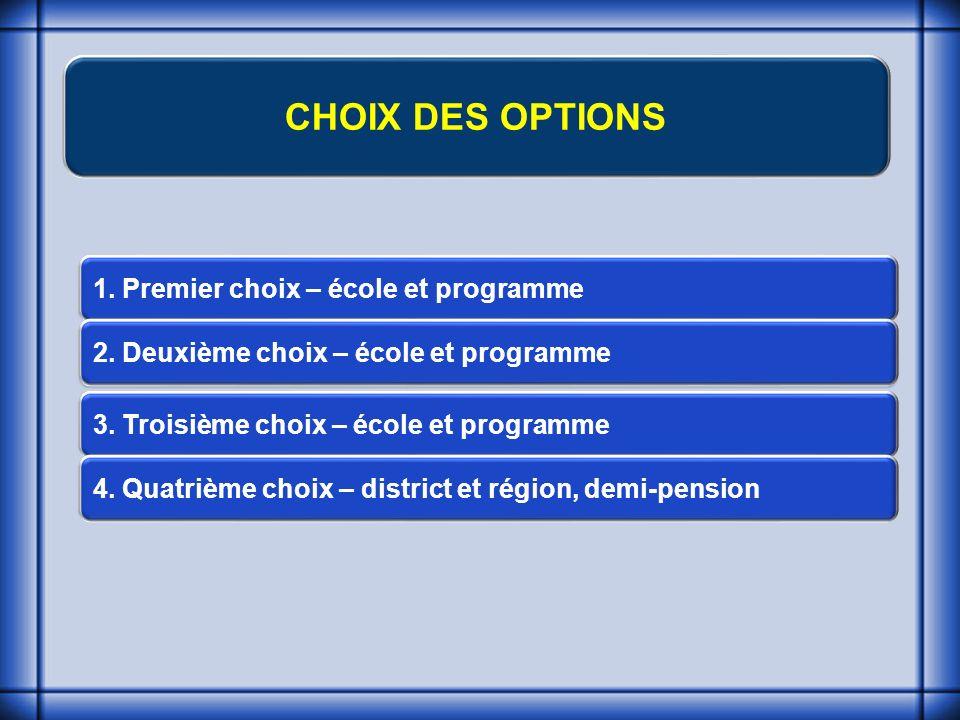 CHOIX DES OPTIONS 1. Premier choix – école et programme 2.