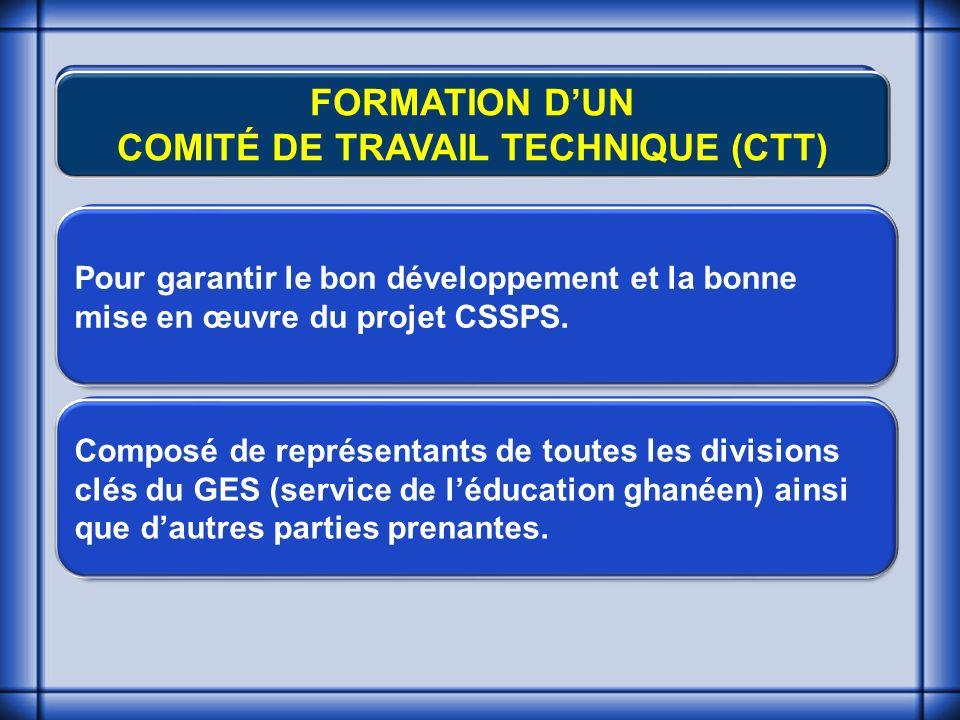 FORMATION DUN COMITÉ DE TRAVAIL TECHNIQUE (CTT) Pour garantir le bon développement et la bonne mise en œuvre du projet CSSPS.