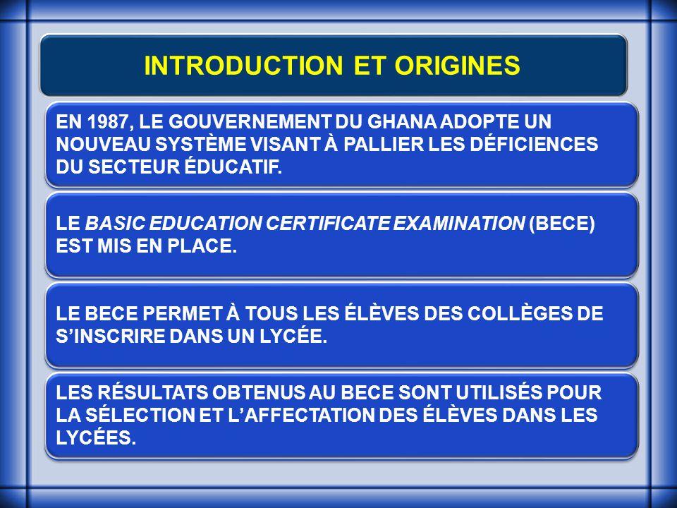 INTRODUCTION ET ORIGINES EN 1987, LE GOUVERNEMENT DU GHANA ADOPTE UN NOUVEAU SYSTÈME VISANT À PALLIER LES DÉFICIENCES DU SECTEUR ÉDUCATIF.