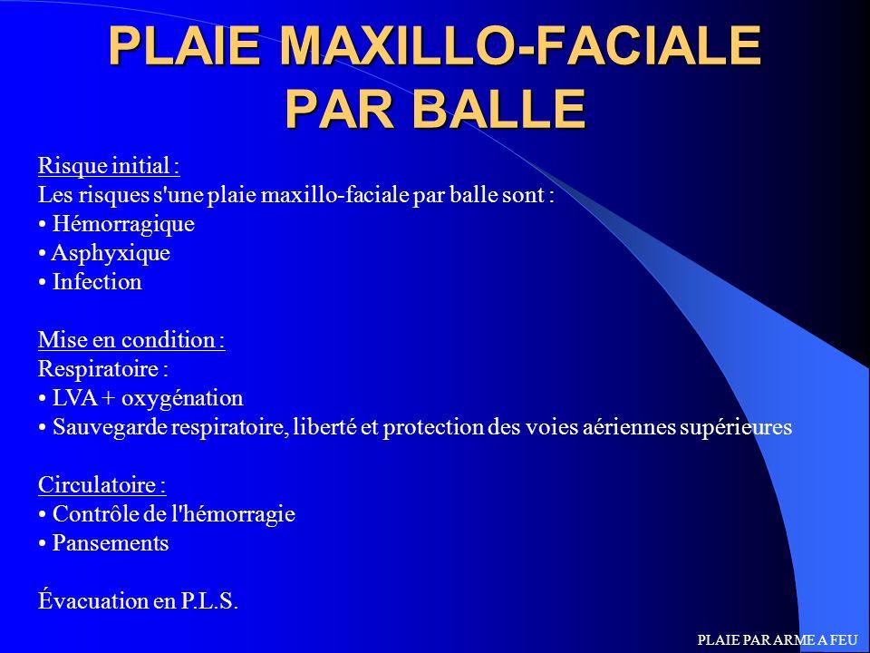 PLAIE MAXILLO-FACIALE PAR BALLE Risque initial : Les risques s'une plaie maxillo-faciale par balle sont : Hémorragique Asphyxique Infection Mise en co