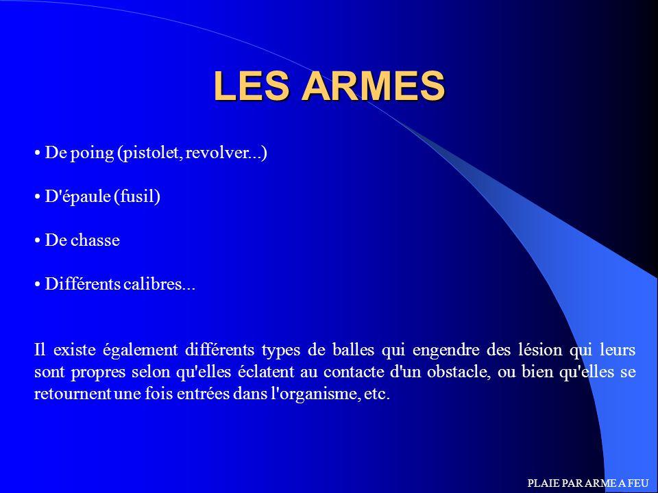 LES ARMES De poing (pistolet, revolver...) D'épaule (fusil) De chasse Différents calibres... Il existe également différents types de balles qui engend